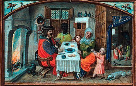 Iluminura com a representação de uma refeição (pormenor, António de Holanda (atribuído), Séc. XVI (c.1517-1551; Livro de Horas dito de D. Manuel I; Calendário (mês de janeiro), Museu Nacional de Arte Antiga