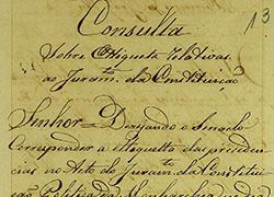 [Registo da Consulta do Senado da Câmara de Lisboa sobre a etiqueta das precedências a observar no juramento da constituição política da monarquia, de modo a que os encarregados das cerimónias saibam como proceder]1822-10-31 AML-AH, Chancelaria Régia, Livro 4º de registo de consultas de D. João VI , f. 191 PT/AMLSB/CMLSBAH/CHR/003/0070/0129069