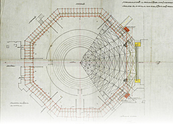 © AML | Cassiano Branco, Trabalhos a realizar nos corredores, palco e cúpula do coliseu dos Recreios. Planta da sala e cúpula, 1929