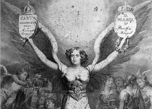 Alegoria à vitória da legitimidade dos liberais, julho 1833 | Fotografia de gravura, negativo de gelatina e prata em vidro, Eduardo Alexandre Cunha, Arquivo Municipal de Lisboa